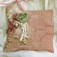 Vintage damask pillow Porcelain pin lady jewelry holder brocade shabby chic decorative pink pillow Roses lace