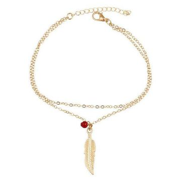 AURORA Boho Chain Feather Charm Anklet