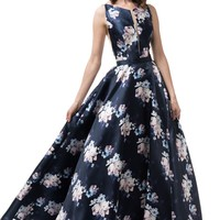Navy floral dress #MZ3478