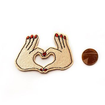 Hippy Hippie Patches - Heart Hand Patch - Hand Love Patch -  Applique Patches - Emroidered Patches - Friends - Love Patches