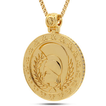14K Gold Spartan Medallion Necklace