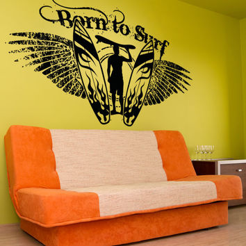 Vinyl Wall Decal Sticker Born to Surf #OS_AA1248
