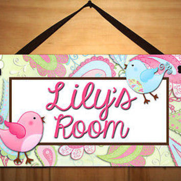 Kids Door Sign Paisley Birdie Girls Bedroom Baby Personalized Name Sign DS0096