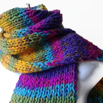 Rainbow Stripe Knit Scarf Pink Green Blue Yellow