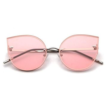 Royal Girl Cat Eye Vintage Rimless Sunglasses