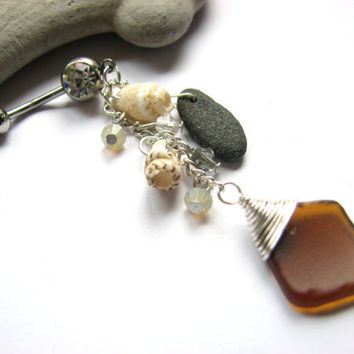Beach Glass Belly Button Jewelry, Shell, Sea Glass and Beach Stone Bellybutton Ring