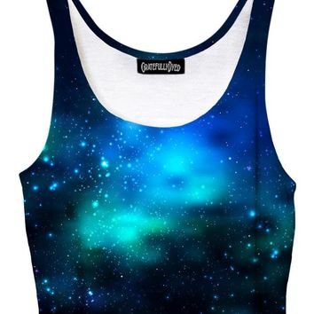 Deep Blue Galaxy Crop Top