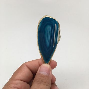 71.5 cts Blue Agate Druzy Slice Geode Pendant Gold Plated From Brazil, Bp1057