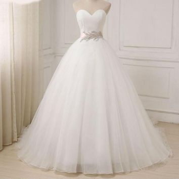 New White Ivory Wedding Dresses Sweetheart Sleeveless Ball Gown Tulle Bridal Gowns Pink