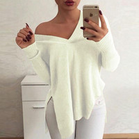 Sexy V Neck Slitting Irregular Knitting Sweater