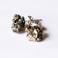 Pyrite Specimen Earrings Studs // my lucky pick
