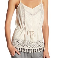 French Connection | Lace Strappy Tassel Hem Tank | HauteLook
