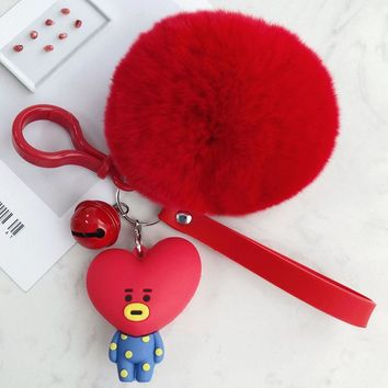Cute Red Heart Keychains Real Rabbit Fur Ball Pom Pom Key Chain Horse,Bear,dog,bunny,Key Ring Holder Mistress Charm Porte Clef