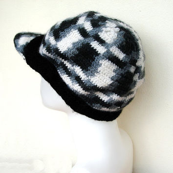 Black and white Adult Womens Crochet Cap Hat
