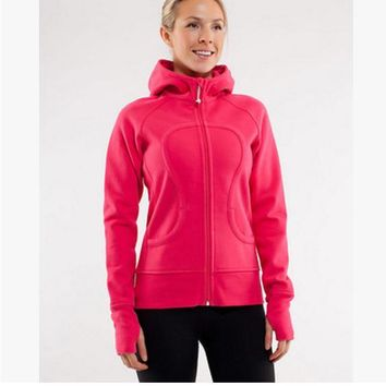 lululemon Scuba Hoodie jog run yoga workout clothes style fashion Red