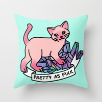 Pretty As Fuck Pink Cat Sassy Meme Tumblr Pastel Crystal Throw Pillow by BigKidult | Society6