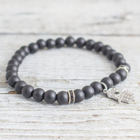 Matte black onyx beaded stretchy bracelet with micro pave silver Hamsa hand charm, made to order bracelet,  mens bracelet, womens bracelet