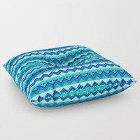 Blue and Teal Tribal Pattern Floor Pillow by Kirsten Star