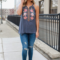 Floral Dream Top - Slate Blue