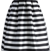 Stripes Full A-line Midi Skirt Multi