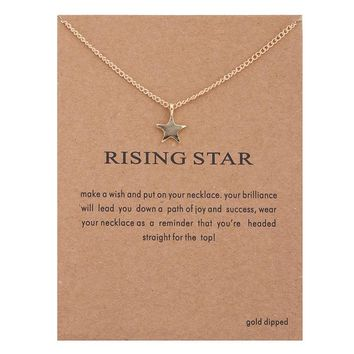 Tiny Star Card Alloy Clavicle Pendant Necklace   171212