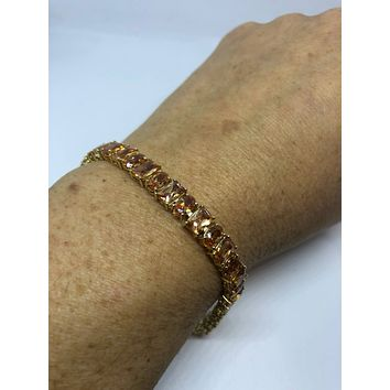 Vintage Handmade mosaic of Golden Citrine Gold Rhodium Finished Sterling Silver Statement Bracelet