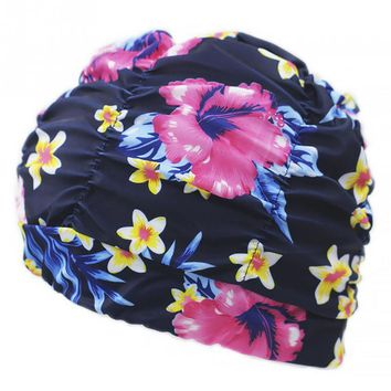 Women Men Pleated Floral Printed Swimming Cap Swim Pool Beach Surfing Long Hair Ears Protection Caps Hats