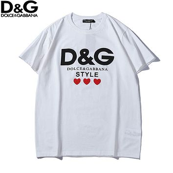 Dolce & Gabbana 2018 new heart-shaped printed logo loose round neck short-sleeved T-shirt white