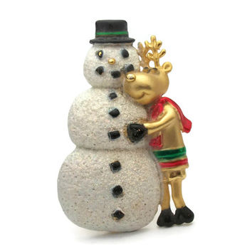 AJC Snowman and Reindeer Brooch Winter Holiday Enamel and Gold Tone Pin Signed Vintage Christmas Jewelry Cute Funny Sweet