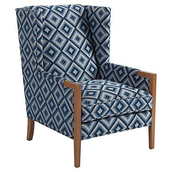 Stratton Wingback Chair, Indigo - Barclay Butera - Brands | One Kings Lane