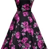 Violet and Grey Rose Hepburn Dress Retro Lady Vintage London