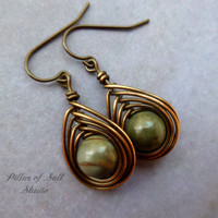 Copper earrings, wire wrapped jewelry handmade, wire jewelry, copper jewelry, earthy jewelry, wire wrapped earrings, Picasso Jasper