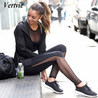 Vertvie Women Yoga Leggings Skinny Mesh HIgh Waist Running Sports Pants Workout Gym Fitness Pant Tights Women Ropa Deportiva