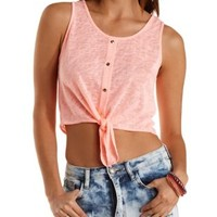 Tie -Front Button-Up Tank Top by Charlotte Russe