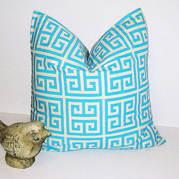 "AQUA Decorative Throw Pillow Cover ONE 18x18 inch Turquoise on Natural Pillow Designer Fabric Greek Key Premier Prints 18"" Modern.Geometric"