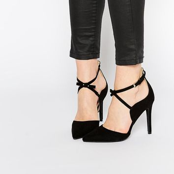 Boohoo Pointed Cross Strap Court Shoe