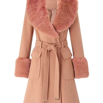 Faux Fur Cuff And Collar Coat | Missselfridge