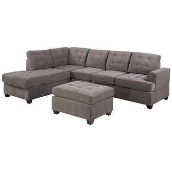 3-Piece Reversible Sectional Sofa with Ottoman in Charcoal Microfiber
