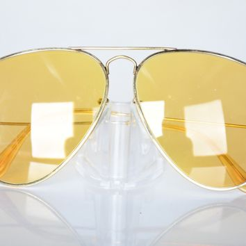 CIRCA 1960s 58MM BAUSCH & LOMB RAY BAN CHANGEABLES AMBERMATIC AVIATOR SUNGLASSES