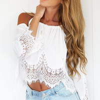 White Off Shoulder Floral Lace Cropped Top