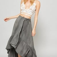 Ruffle Wrap Maxi Skirt