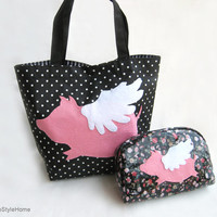 When Pig Flys Black Polka Dots Small Tote Bag. Cute Children Lunch Bag. Pink Flying Pig Weekend Bag