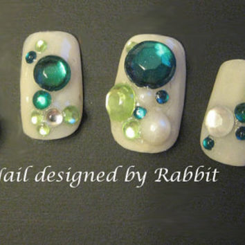 SAINT PATRICK'S DAY, Bridal party, Bubble Bubbly Full Fake Nail Art Kawaii 3D Set, Crystals, Pearls, Hand-Painted, Swarovski, Diamond, Gel