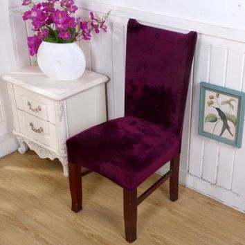 Elastic Kitchen Wedding Party Banquet Fox Pile Fabric Chair Cover Seat Slipcover