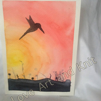 Art, watercolour, painting, art home decor, wall art, watercolor painting, birthday gift, bird, sunset, housewarming gift
