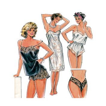 BURDA LINGERIE PATTERN Sexy Panties Camisole Teddy Tap Panties Full Slip Burda 6157 Bust 31.5 to 41 UNCuT Women's Vintage Sewing Patterns