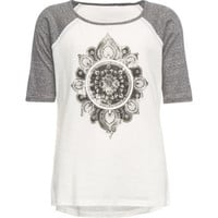 Full Tilt Mandala Girls Raglan Tee White/Grey  In Sizes