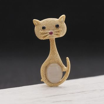 Fashion  Brooch Jewelry Vintage  Animal Cat Brooch Pins Opal Brooches For Women Party Gifts