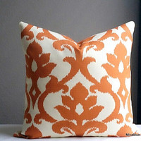 Pumpkin orange outdoor pillow cover all sizes available fabric both sides