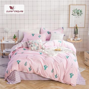 Cool SlowDream Cactus Pink Bedding Set Nordic Duvet Cover Comforter Bedspread Bed Linen Set Double Sheets Queen King Adult BedclothesAT_93_12